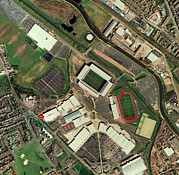 Athletic Framed Prints - Wigan Athletics Jjb Stadium, Aerial View Framed Print by Getmapping Plc