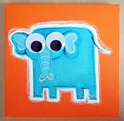 Jungle Pastels Originals - wIGGLY eYE eLEPHANT by Mara Morea