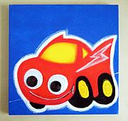 Race Pastels Originals - wIGGLY eYE rACE cAR by Mara Morea