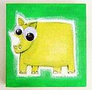 Jungle Pastels Originals - wIGGLY eYE rHINO by Mara Morea