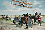 Aircraft Paintings - Wilbur Wright in France by Kenneth Young