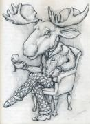 Dinner Drawings - WilcoxMoose by Alexander M Petersen