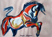 Horse Drawings Framed Prints - Wild 2 Framed Print by Tarja Stegars