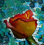 Botanical Ceramics Metal Prints - Wild and crazy Rose bud Metal Print by Debbie Portwood