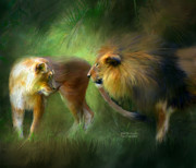 Lions Mixed Media Prints - Wild Attraction Print by Carol Cavalaris