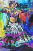 Full Skirt Digital Art Prints - Wild Belly Dancer Print by Barbara Kelley