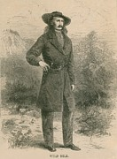 Mustaches Metal Prints - Wild Bill Hickok 1837-1876, Portrait Metal Print by Everett