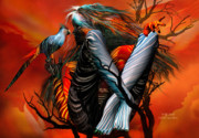 Fantasy Tree Art Print Mixed Media Posters - Wild Birds Poster by Carol Cavalaris