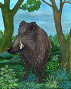 Wild Boar Paintings - Wild Boar by Anna Folkartanna Maciejewska-Dyba