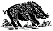 Boar Photos - Wild Boar, Woodcut by Gary Hincks