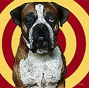 Boxer Mixed Media Framed Prints - Wild Boxer 2 Framed Print by Bibi Romer