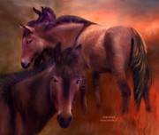 Wild Horse Mixed Media Metal Prints - Wild Breed Metal Print by Carol Cavalaris