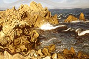 Surrealism Drawings - Wild California Coast by Peter Art Prints Posters Gallery