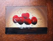 Original Paintings - Wild cherries by Lori McPhee