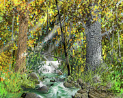 Autumn Landscape Drawings Framed Prints - Wild Creek - October Framed Print by Jim Hubbard
