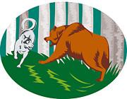 Wild Dog Wolf Fighting Grizzly Bear Print by Aloysius Patrimonio