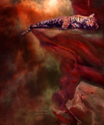 Leopard Mixed Media Posters - Wild Dreamer Poster by Carol Cavalaris