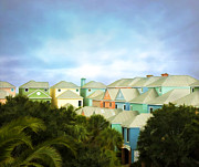 Colorful Houses Prints - Wild Dunes Rainbow Row Print by Steven Richardson