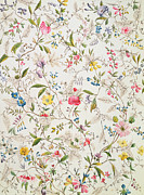 Floral Motif Paintings - Wild flowers design for silk material by William Kilburn