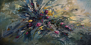 Pallet Knife Painting Posters - Wild Flowers Poster by Michael Lang