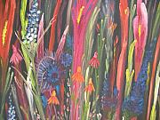 Glads Paintings - Wild Flowers On Black by Elizabeth AAThompson