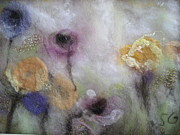 Felt Tapestries - Textiles Metal Prints - Wild Flowers Metal Print by Selma Glunn