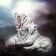White Tiger Mixed Media - Wild Generations - Tigers Roar by Carol Cavalaris