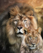 Lion Art Posters - Wild Generations Poster by Carol Cavalaris