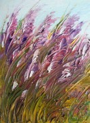 Pallet Knife Framed Prints - Wild Gladiolas Framed Print by Robert Laper