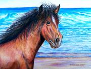 The Horse Pastels Prints - Wild Horse On The Beach Print by Patricia L Davidson