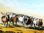 Wyoming Paintings - Wild Horses by Bob Patterson