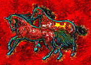 Wild Mustangs Posters - Wild Horses Poster by David G Paul