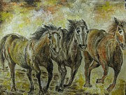 Naturalistic Framed Prints - Wild Horses Framed Print by Preeti
