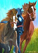 Mustang Paintings - Wild Horses Running  by Michael Lee