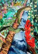Waterfall Drawings - Wild Jungle by Mindy Newman