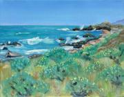 Crashing Surf Paintings - Wild Lupin at Gerstle Cove Park in May by Asha Carolyn Young