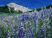 Blue Flowers Paintings - Wild Lupine by Barbara Jewell
