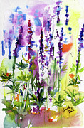 Wild Lupines Watercolor By Ginette Print by Ginette Fine Art LLC Ginette Callaway
