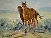 Mustang Paintings - Wild Pair by Karen McLain