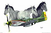 North American P51 Mustang Mixed Media Posters - Wild Ponys Poster by Trenton Hill