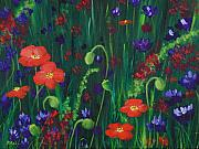 Blue Flowers Drawings - Wild Poppies by Anastasiya Malakhova