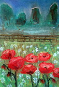 Red Poppies Pastels - Wild Poppies by Marcela Elena Moada
