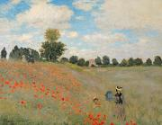 D Posters - Wild Poppies near Argenteuil Poster by Claude Monet