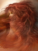 Beautiful Woman Mixed Media Prints - Wild Red Wind Print by Carol Cavalaris