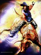 Bull Riding Paintings - Wild Ride by Mike Massengale