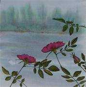Water Tapestries - Textiles - Wild Rose by Carolyn Doe