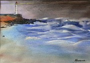 Stormy Weather Paintings - Wild Seas with Lighthouse  by Tony Northover