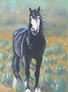Mustang Paintings - Wild shades of Sage by Melody Perez