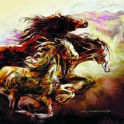Horses Mixed Media Prints - Wild Things Print by Mike Massengale