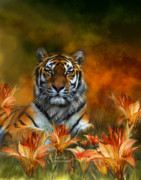 Animal Art Giclee Mixed Media Prints - Wild Tigers Print by Carol Cavalaris